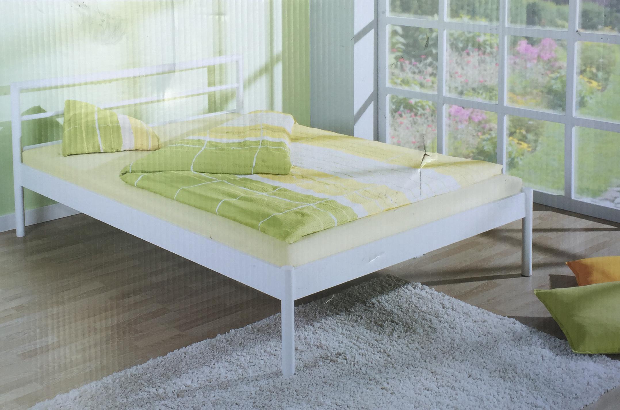 living art metallbett liegefl che 140 x 200cm wei seidenglanz neu bett ebay. Black Bedroom Furniture Sets. Home Design Ideas