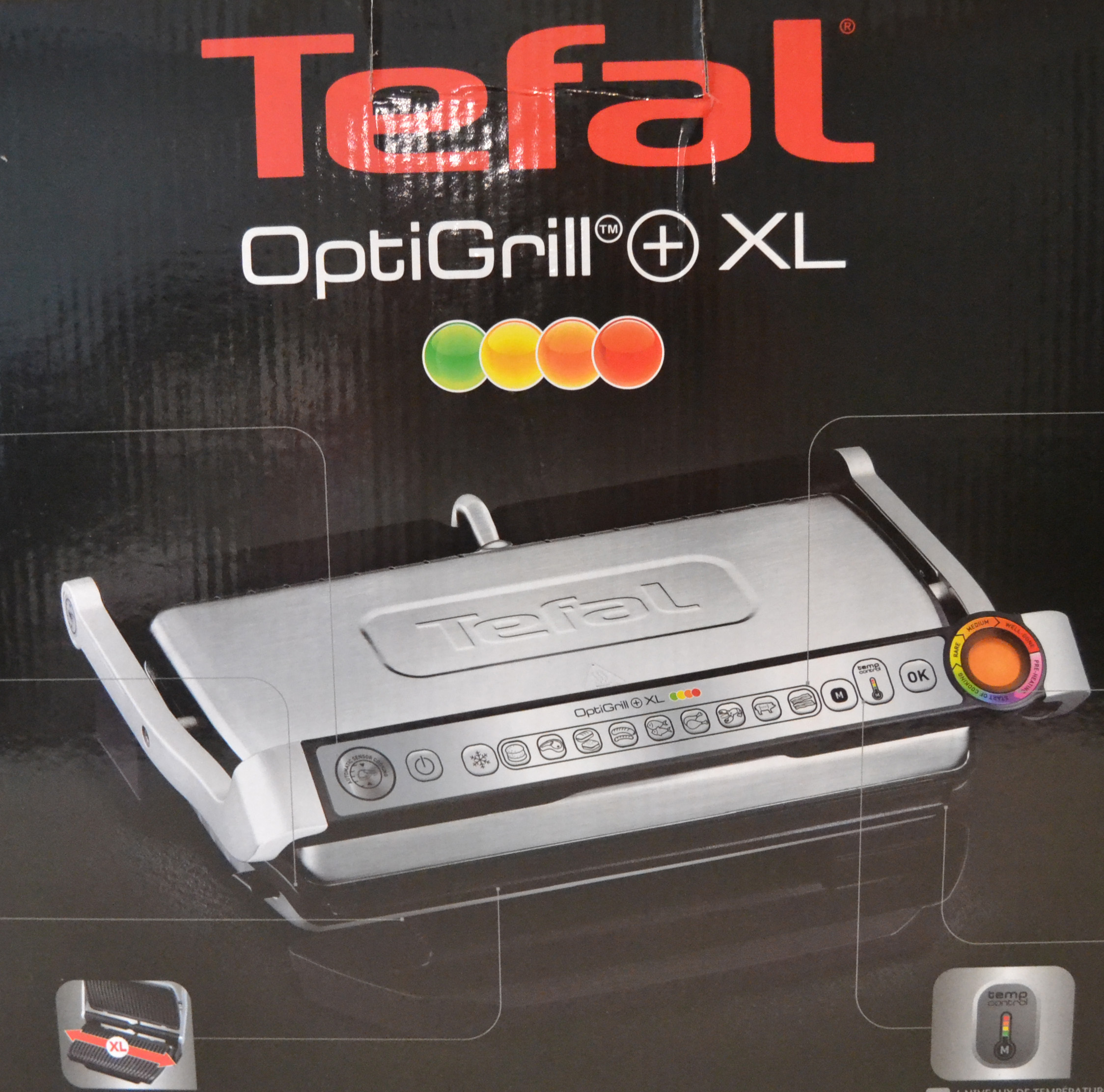 tefal gc722d kontaktgrill optigrill xl 2000 watt mit 9. Black Bedroom Furniture Sets. Home Design Ideas